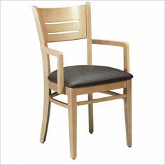 ACF-4544 Upholstered Wood Arm Chair. Availability: Build to Order. Minimum order of 4. Classic wood chair for your restaurant/dining needs. All frames constructed of solid beech. Also available with solid wood seat. One year warranty.