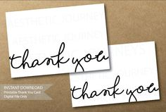 Printable Thank You Cards- Instant Download-Simple Thank You Card by AestheticJourneys on Etsy