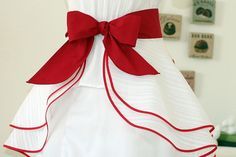 darling hostess apron in red and white
