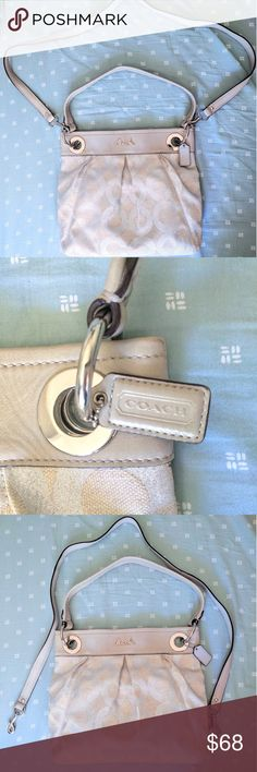 Silver Ashley Coach shoulder bag with long strap Fabric Coach bag with leather trim and big