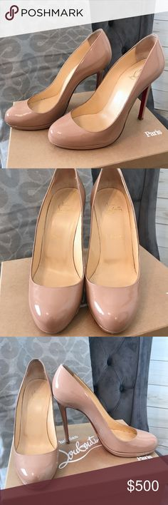 🎉HP🎉 Louboutin Neofilo 120mm Round Toe 🎉🎊Host Pick! Only worn a few times - the patent is in great condition - there is wear on the bottom as seen in photos.  Please take a close look before making an offer.  - Fits closer to a size 8 1/2 - comes with original box and packaging - extra heels taps - no dust bag - comes with new sole covers.  Bring to any skilled cobbler to put them on. Christian Louboutin Shoes