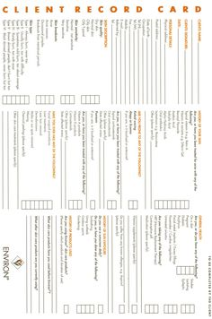 Client Consultation Card For Spa  Google Search  Spa Ideas