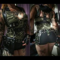 One of a kind made design heavy metal got shorts. Made with stretch green military fabric and faux leather. Belt loops, side straps with studs and spandex fabric. front rise 8 1/2  inches. Back rise 11. Waist up to 34 hips 34. If you want to purchase and your country is not listed here for shipping contact me for a shipping quote. Please read sizes well as I dont accept returns on this custom items.