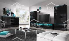Czarna meblościanka , meble w połysku , best modern design black high gloss
