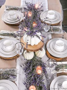 Wood under the plates. Create a classy and elegant Lavender Fall Tablescape filled with blooms from your own yard! Give it a fall look using white pumpkins and tea light candles. Fall Wedding Decorations, Thanksgiving Decorations, Lavender Wedding Centerpieces, Christmas Decor, Tea Light Candles, Tea Lights, Soy Candles, White Pumpkins, Fall Table