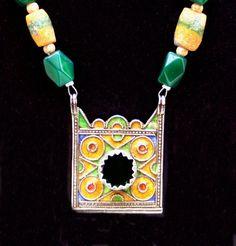 Berber enameled pendant necklace by SilkRoadJewelry