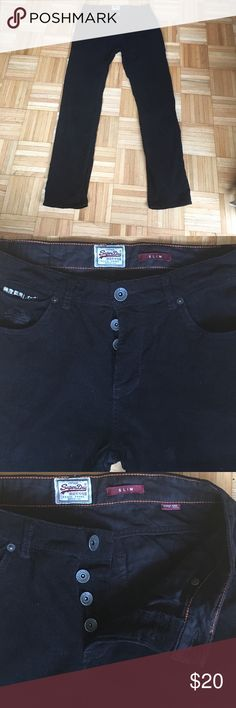 Super Dry Men's Corduroy Pants, 32W x 32L Black, Button Fly, Slim Cut, 100% Cotton. Slight Mark/Indentation on Back of Legs from Drying Rack. Very Good Condition. Super Dry Pants Corduroy