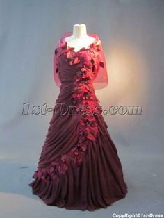 Burgundy Plus Size Evening Dresses with Shawl IMG_2792:1st-dress.com