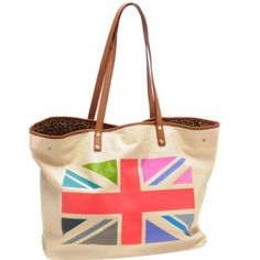 Jessica Kagan Cushman Union Jack Tote **Price reduced**Great tote with tons of room for everything. One inside zip pocket. Big enough to work as weekend bag. Materials are canvas with leather trim/handles. Jessica Kagan Cushman Bags Totes