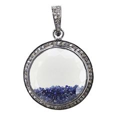 Sapphire Gemstone Sterling Silver Diamond Crystal Quartz Pendant Fine Jewelry #raj_jewels #Pendant