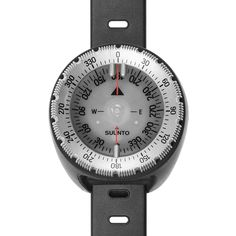 Dive compass for wearing on wrist with strap, balanced for northern hemisphere