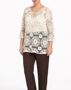 Jersey de mujer Couchel - Mujer - Tallas Grandes - El Corte Inglés - Moda Moda Online, Plus Size Women, Size Clothing, Plus Size Outfits, Plus Size Fashion, Tunic Tops, Lace, Clothes, Ideas
