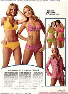 1974 Sears Spring Summer Catalog, Page 129 - Christmas Catalogs & Holiday Wishbooks Vintage Bikini, Vintage Swimsuits, Vintage Lingerie, Seventies Fashion, 60s And 70s Fashion, Retro Fashion, Colleen Corby, Retro Advertising, Christmas Catalogs