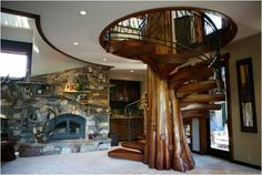 Wood Staircase - Timber and Logs That Will Look Amazing in Your Home - Find Fun Art Projects to Do at Home and Arts and Crafts Ideas