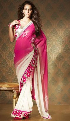 Product Code: G3-LS7289  Price: INR RS 6744  Product Name: Pink Cream Faux Georgette Embroidered Wedding Saree