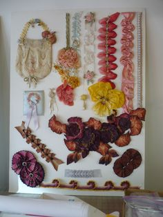 Candace Kling   Flickr - Photo Sharing! Ribbon Decorations, French Flowers, Passementerie, Ribbon Art, How To Make Ribbon, Silk Ribbon Embroidery, Fabric Paper, Fabric Manipulation, Flower Making
