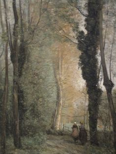 The french countryside by Camille Corot - Un chemin sous les arbres au printemps
