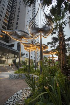 The landscape at 60 Nguyen Duc Canh was designed by Eden Landscape with a modern and simple style Landscape Structure, Landscape Elements, Landscape Architecture Design, Garden Landscape Design, Sustainable Architecture, Urban Landscape, Landscape Art, Minimalist Architecture, Luxury Landscaping