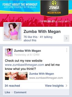 LIKE my new Zumba Facebook page! www.facebook.com/ZumbaWithMeganMcarn