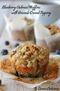 Pretty healthy blueberry oatmeal muffins with granola topping. Ignore the shout out for serving with a butter brand.