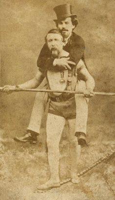 vicfangirlguide: The French tightrope walker Blondin and his manager. In 1859 he became the first man to cross the gorge below the Niagara Falls on a tightrope. After this first success Blondin repeated the stunt several times while performing more daring tricks including crossing whilst blindfolded, wearing stilts, carrying his petrified manager on his back, pushing a wheelbarrow and on one occasion cooking and eating an omelette.