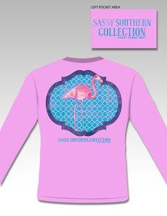Sassy Frass Preppy Flamingo Long Sleeve Bright Girlie T Shirt