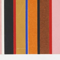 Pattern of pink, red, black, ochre, blue and orange repeating vertical stripes of pasted colored paper.