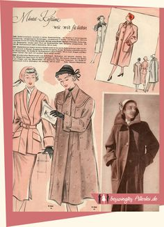 beswingtes Allerlei: Wiener Weltmode Nr. 15 1951 Mode Mantel, Fashion History, Retro Vintage, Outfit Ideas, Dressmaking, Womens Fashion, The Fifties, Magazines, Sewing Patterns