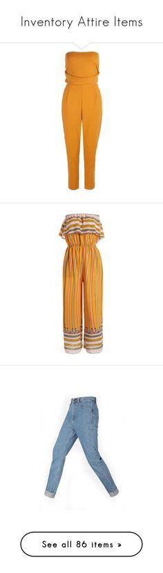 """""""Inventory Attire Items"""" by kayegarten ❤ liked on Polyvore featuring jumpsuits, tailored jumpsuit, bandeau jumpsuit, yellow jump suit, yellow jumpsuit, jump suit, tribal jumpsuit, tube jumpsuits, tribal print jumpsuit and ruffle jumpsuit"""