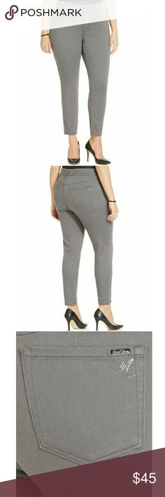 Melissa mccarthy seven7 grey wash skinny jeans Melissa McCarthy Seven7 Gray Wash Skinny Jeans  Sleek denim style is effortless in these plus size skinny jeans by Melissa McCarthy Seven7, featuring a smoky gray wash.    Cotton/polyester/rayon/spandex  Machine washable  Imported  Mid-rise: waistband sits below natural waist  Slim fit through hips and thighs  Skinny leg  Slimming silhouette system: hip slenderizing technology, tummy flattening panels, and forward side seaming  Contoured…