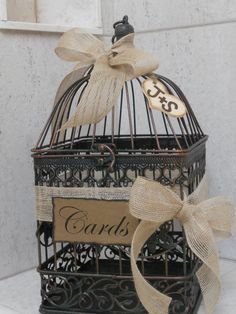 Birdcage Wedding Card Holder / Rustic Burlap Wedding Card Box. $43.00, via Etsy.