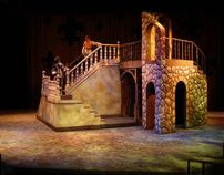 "Scenic Design for Utah State University's production of ""The Three Musketeers"" adapted for the stage by Ken Ludwig from the novels by Alexander Dumas. Two units moved into different positions to create 22 different scene changes while the action was still happening."