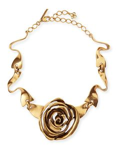 Oscar de la Renta Golden Rose Necklace.