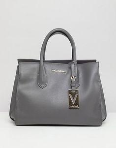 Valentino by Mario Valentino Grey Structured Tote Bag at ASOS. Valentino, Asos, Mario, Shoulder Bag, Tote Bag, Gloves, Scarves, Bags, Women's