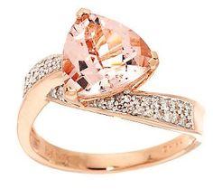 Want! 2.00 cts Trillion Cut Morganite & 1/5cttw Diamond Ring, 14K Gold