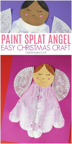 This easy Christmas craft is perfect foor preschoolers - make some pretty paint splat angels! #christmascrafts Christmas Crafts For Kids To Make, Simple Christmas, Holiday Crafts, Holiday Fun, Paint Splats, Angel Crafts, Snowman Crafts, Color Card, Pre School