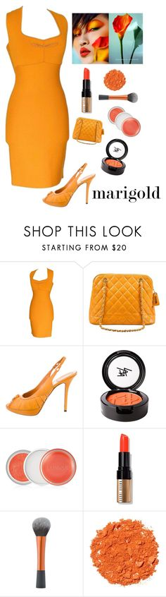 """""""Golden Spring Beauty"""" by kotnourka ❤ liked on Polyvore featuring Roland Mouret, Chanel, Christian Dior, Beauty Is Life, Clinique, Bobbi Brown Cosmetics and Illamasqua"""