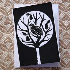 Handmade Linocut Lino Print Christmas Partridge In by RedGateArts, £2.50