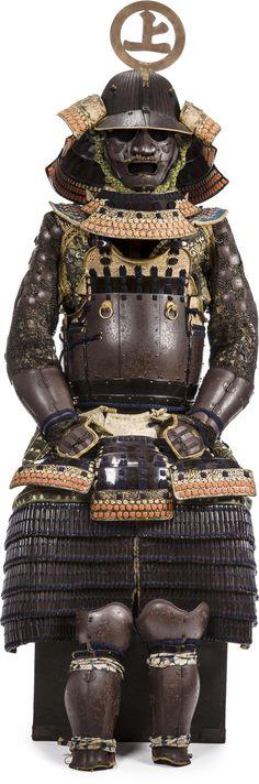 62 plate suji bachi kabuto (helmet), go-mai okegawa tatehagi do / dou (cuirass) gusoku, kabuto by Myochin Yoshihisa, Muromachi period (16th century), the armor Edo period (18th century).