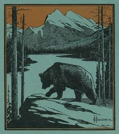 Nature Magazine - View of a Bear by a Cliff; Mountain and Lake Scene