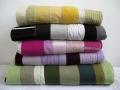 How to make a Cashmere Patchwork Quilt from discarded sweaters.  Cashmere Patchwork Quilt by Sun Moon Lake