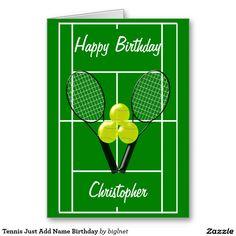 Tennis player happy birthday card pinterest happy birthday cards tennis just add name birthday greeting card m4hsunfo