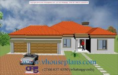 Overall Dimensions- x m Bedrooms- 2 Car Garage Area- Square meters House Roof Design, Modern House Design, Beautiful House Plans, Beautiful Homes, Building Costs, 4 Bedroom House Plans, Ground Floor, Exterior, How To Plan