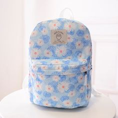 b8bdf341c1386 Chrysanthemum Printed Canvas Travel Backpack Lace Backpack