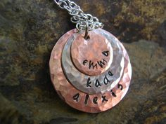 Hand Stamped Trio Necklace  Mother Necklace by KottageKreations, $30.00