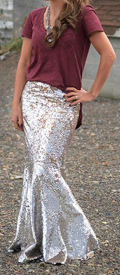 Mermaid Silver Sequin Skirt <3