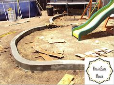 A super tutorial showing exactly what we want to do around our sandbox! DIY Concrete Edger or Retaining Curb Concrete Edger, Diy Concrete Patio, Concrete Curbing, Concrete Garden, Diy Patio, Backyard Patio, Patio Ideas, Backyard Ideas, Concrete Path