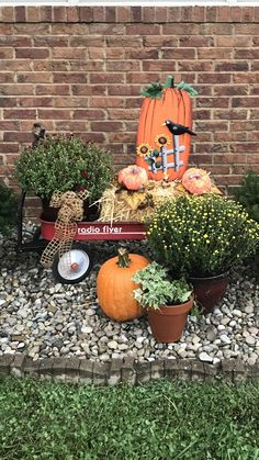 Fall and a red wagon Fall and a red wagon Fall Wagon Decor, Burlap Fall Decor, Fall Yard Decor, Fall Home Decor, Fall Decorations, Little Red Wagon, Diy Fall Wreath, Porch Decorating, Fall Crafts