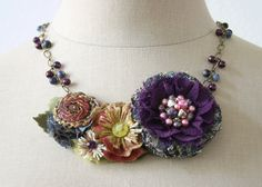 Violet Bloom Fabric Flower Beaded Statement ♥ by rosyposydesigns