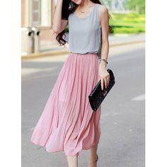 Stylish Scoop Neck Beam Waist Sleeveless Pleated Women's Chiffon Dress, PINK, L in Chiffon Dresses | DressLily.com